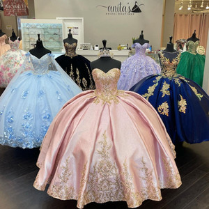 Glitter Blush Pink Gold Lace Embroidery 2021 Cheap Quinceanera Prom Dresses Sweetheart Corset Back Floor Length Ball Gown Vestidos 15 Anos