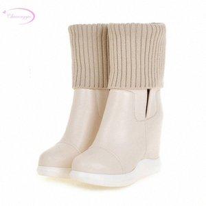 Chainingyee estilo elegante cabeça redonda mid bezerro botas esticar plataforma impermeável alto salto alto aumento das mulheres equitação botas chuva botas me c56j #