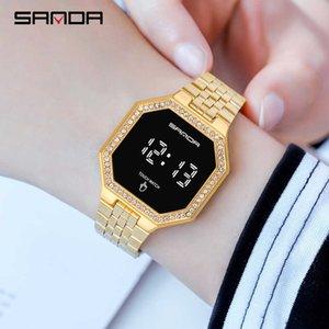 Sanda модные часы женщины хрустальные алмазные сенсорные экраны цифровые часы водонепроницаемые наручные часы для женщин часов Reloj Mujer 210603