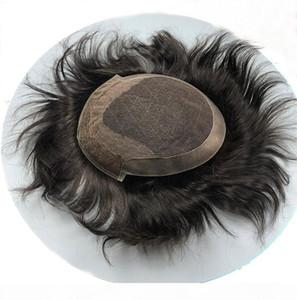"""Capelli da uomo Toupee 10 """"X8"""" Capelli per capelli umani Super sottili Parrucca Skin Swiss Swiss Capelli Sostituzione dei capelli SystemR Uomo Parrucca Parrucchieri"""