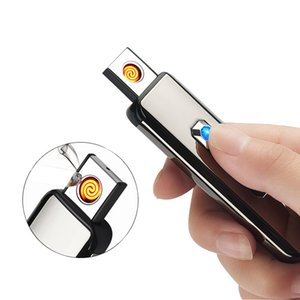 Portable USB Torch Lighter Rechargeable Battery Double-sided Lighter Flameless NO Gas Electronic Windproof Cigarette Lighter With Gift Box