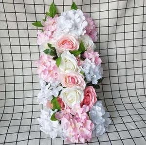 45x12cm T-Strips Lead Road Lead Floral Sfondo Floreale Pannello Artificiale Fiori per la festa Wedding Flower Wall Decoration