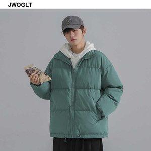 Зимняя куртка мужчины сплошной цвет Parkas молния мужская стойка воротник теплый толстый толстый туманный куртка мужской корейский повседневная парки парки 210528