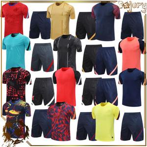 2021 Futbol Formaları Yetişkin Kitleri T-Shirt ile Kısa Pantolon Futbol Eğitim Üniforma Setleri Koşu Spor Giyim Altın Erkekler Kiti