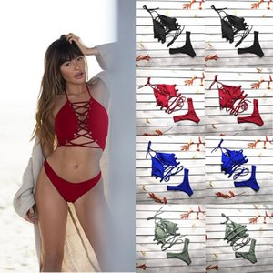 2021 Hot Women Bandage Push-up Padded Bikini Off Shoulder Backless Crop Tops Panties 2Pcs Ladies Sexy Swimwear Bathing Suit