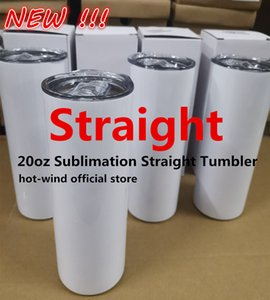 STRAIGHT! 20oz Sublimation Straight Tumblers Blanks White Stainless Steel Vacuum Insulated Tapered Slim DIY Cup Coffee Mugs