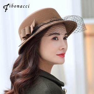 Fibonacci Elegant Hats For Women Winter Fedora Hat Fashion Chapeu Femme Floral Sombrero Mujer Bowler Hat Cloche Wool Fedoras