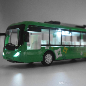 Diecast Alloy Double Carriages Trolley Bus, Boy Model Car Toy, Lights& Sound, Pull-back, 1:48 Scale, Ornament, Christmas Kid Birthday Gift, Collecting, 2-1