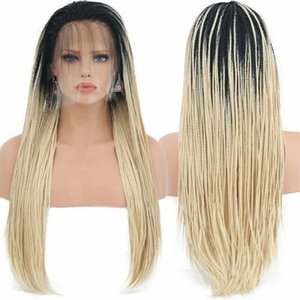 3X Box Braided Ombre Blonde Wig Cosplay Synthetic Lace Front Wig Free Part Hand Tied Heat Resistant Fiber Hair Wig Party for Women