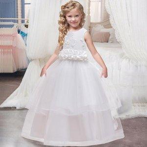 PLBBFZ NIÑOS NIÑOS NIÑOS FLOR VESTIDO Baby Girl Lace Cumpleaños Vestidos de fiesta Dot Niños Fancy Princess Ball Bown Ropa de boda