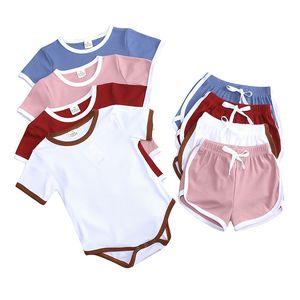 Summer 2-piece Clothes tracksuit jumpsuit overalls T-shirt + shorts pants set shorts pajamas Kids Girls Boy baby Clothing Suit CZ0222D
