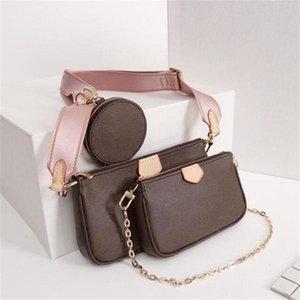 Real leather Fashion handbags Shoulder Bags Multi pochette accessoires purses Women Favorite Mini 3pcs accessories crossbody bag