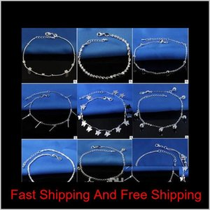 Selling Stamped 925 Sterling Silver Anklets For Womens Simple Beads Silver Chain Anklet jllPJn nana_jewel