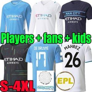 S-4XL 20 21 22 city Long sleeve soccer jerseys 2020 2021 2022 man GREALISH FODEN STERLING football shirt manchester Player DE BRUYNE GESUS MAHREZ RODRIGO men kids kits
