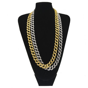 Nightclub Jewelry 18K Gold Plated Diamond MIAMI CUBAN LINK Chain Necklace Men Hip Hop Bling Iced Out Solid Rock Rap Coolest Chains 24""