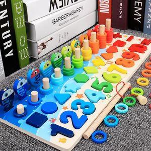 Children Busy Board Math Fishing Children's Wooden Preschool Montessori Toy Counting Geometry