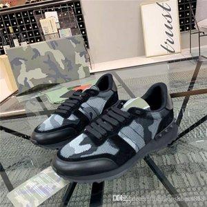 Erkek Klasik Moda Kamuflaj Elemanları Serisi Spor Ayakkabı Splice Renk Perçin Spor Ayakkabı, Kutusu Ile