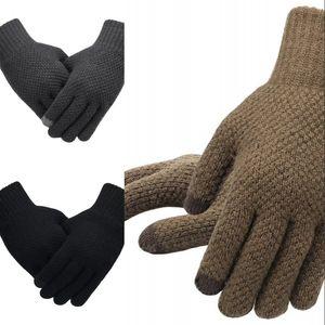 Guanti a maglia da uomo inverno autunno autunno maschio guanti da touch screen di alta qualità e sottile velluto sottile solido guanti caldi business 316 x2