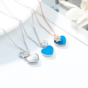 Chains High Version Of The Quality Original S925 Pure Silver Blue Love Heart Pendent Necklace Jewelry Cute Footprint Chain Women