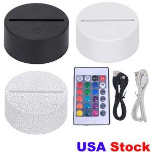 3in1 Bases de lâmpada de LED RGB para ilusão 3D luz noite, Base de substituição do interruptor de toque para lâmpadas 3D de mesa de mesa 9D USA Stock FedEx