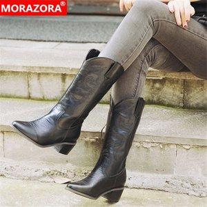 Morazora 2020 Stivali occidentali Hot Western Pointed Toe Square Tacco Autunno Inverno Scarpe Casual Donne Donne Mid Calf Boots Big Size 46 all'ingrosso F0HG #