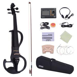 Ammoon full size 4/4 violino in legno massello di violino elettrico silenzioso violino ebano tastiera pneumatici mento ripiani cordoncino con accessori per violino