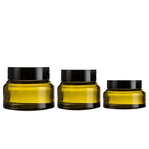5pcs 15g 30g 50g Amber Green Glass Facial Cream Empty Jar Cosmetic Sample Container Travel Refillable Bottles Pot with Black Lid
