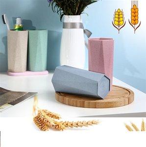 Basit tasarım buğday samanı geometrik fırçalama fincan elmas şekli gıda sınıfı kupa bardak kahvaltı kahve süt buğday fincan deniz nakliye ZC026