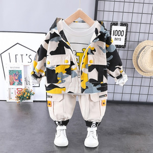 Boy Hooded Camo Clothes Zip Coat Tshirt Trousers Fashion 3PCS Casual Jacket Baby New Kids Outfits1 2 3 4 Years LJ200831