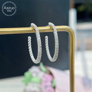 Aazuo Real 18K White Gold Real Diamonds Fine Jewelry Classic Big Hoop Earrings Clip gifted for Women Wedding Party Au750 0308