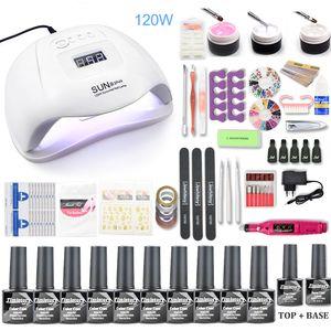 Nail Set 120W UV LED Lamp For Manicure 10pcs Gel Polish Set Kit Soak Off Gel Varnish For Nail Art Set Dryer Machine Tools