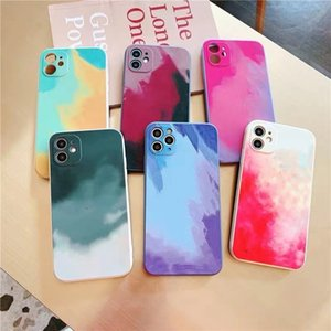 Square TPU Watercolor Mobile Phone Case For iPhone 12 11 Pro Max Mini XS X XR 7 8 Plus Colorful Gradient Soft Cover