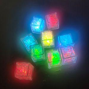 Novelty Lighting RGB LED flashing ice cube lights Water Submersible Liquid Sensor Night Light for Club Wedding Party Champagne Tower Christmas festive