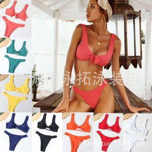 2019 frauen nylon solide farbe sexy brust knoten bikini split badeanzug weiblich