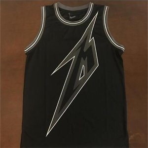 Редкие 21s Black 84 Metallica Ride Световое освещение 30-летие Баскетбол Джерси Вышивка Вышитый Размер S-4XL Или пользовательское Имя или номер