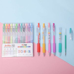 12 Creative Color Jelly Three Dimensional Neutral Pen Student Greeting Card Drawing 3d Prs Hand Account Marker
