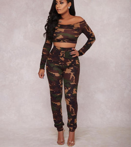 2021 New Style Women Long Sleeve Trouser Suit Female Camouflage Tight Sports Set Off-shoulder High Waist Outfits Autumn