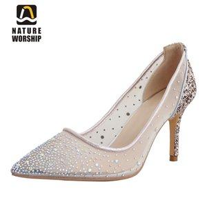 Natura Adorazione New Fashion Party Blingbling Shoes Sexy Scarpe Sexy Toe Slip On Ladies Pompe Super Alta Tacchi sottili Scarpe Big Size 43