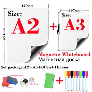2 Pcs Magnetic Whiteboard Fridge Stickers Wall Stickers Kids Drawing Board Dry Erase White Board Message Board A2+A3 Package 210312