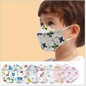 Cartoon Printing / Colorful Children's Mask 3 ~ 12 anni Design 10 Confezioni Tridimensionali Protezione antipolvere monouso Tridimensionale Protezione carino Kids Student Face Masks
