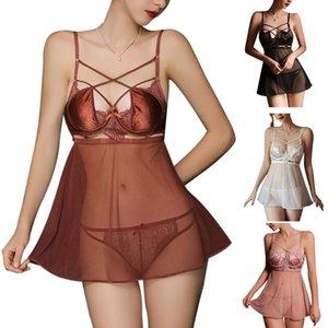 여성 섹시한 스파게티 스트랩 깎아 지른 메쉬 미니 란제리 드레스 레이스 팬티가있는 팬티를 놓아 라무지 나이트 가운 잠옷