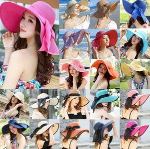Глопная шляпа домой с луком Женщины складной летний пляж солнца со столовой пляж шляпа женские летние лук большие широкие Brim Cap Sun Hat Ljjk2524