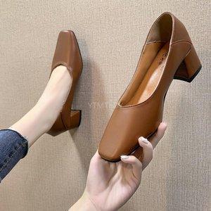 YTMTLOY Bahar Yeni Bayanlar Ayakkabı Rahat Kadın Ayakkabı Rahat Kare Toe İşçi Katı Siyah Zapatos Tacon Mujer Pompaları