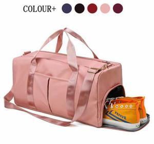 Free shipping with LOGO Outdoor Waterproof Nylon Sports Gym Bag Men And Women Training Fitness Travel Handbag Yoga Mat Sports Bag Shoe Box