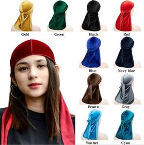 Hot sale unisex Velvet Durags Bandana Turban Hat pirate caps Wigs Doo Durag Biker Headwear Headband Pirate Hat Hair Accessories C325