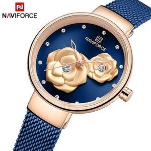 NAVIFORCE Women Watch Top Brand Rose Gold Blue Quartz Ladies Watches Steel Mesh Waterproof Wristwatch for Girl Relogio Feminino 201218