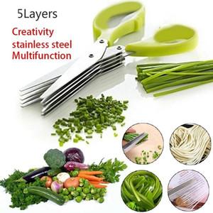 Tijeras de acero inoxidable Herramientas de cocina Accesorios de cocina Cuchillos de 5 capas Scissor Sushi Shredded Scallion Cut Herb SpecessCisors WLLL60