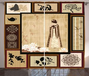 Curtain & Drapes Japanese Curtains Girl In Traditional Dress And Cultural Patterns Ornaments Antique Eastern Collage Living Room Window