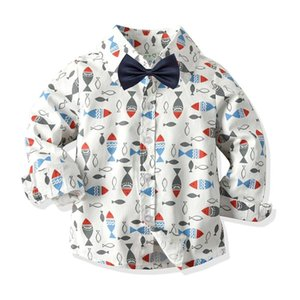 Shirts Spring Autumn Fashion Boutique Children Kids Toddler Boys Printing Cotton Clothes Clothing Long Sleeve Blouse Shirt Tops