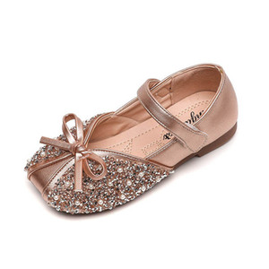 Girls Shoes New Fashion Crystal Kids Leather Shoes Pearl Baby Dress Shoes Princess Children Footwear B3806